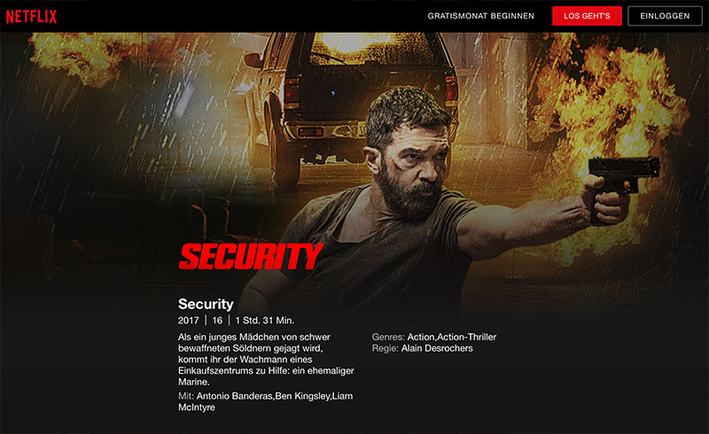 Action Film Abend mit Security mit Antonio Banderas